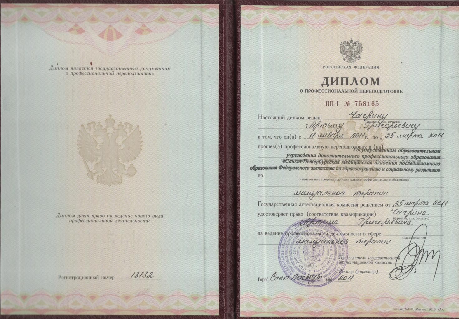 сертификат Чагрина АГ